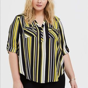 Torrid Yellow & Black Striped Harper Popover Top 5